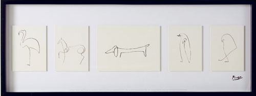 Obraz v ráme Olunda, autor motívu Pablo Picasso, náčrty.