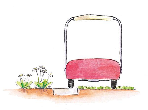 Úzky pás dlažby (obrubníky alebo tehly uložené naplocho a podobne), oddeľujúci záhon a trávnik, umožní bezproblémové kosenie okraja trávnika – nehrozí tak poškodenie susediacej výsadby.