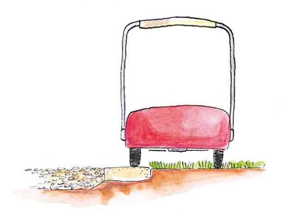 Kosenie okraja trávnika hraničiaceho s plochou vysypanou okruhliakmi vám môže uľahčiť úzky pás z plochých kameňov na ich rozhraní, vhodné sú aj špeciálne tehlové tvárnice (záhradný obrubník, tehlová dlažba Klinker a podobne).