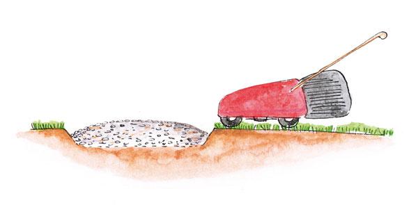 Pri úzkej cestičke vysypanej okruhliakmi by ohraničenie plochými kameňmi vyznelo násilne, preto je lepšie aj jednoduchšie jej okraje znížiť pod úroveň trávnika.
