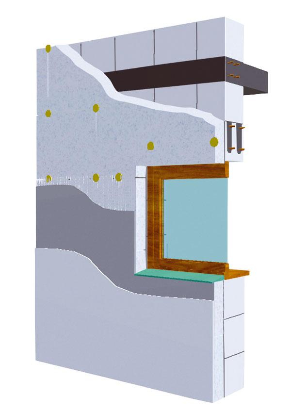 Konštrukcia obvodového plášťa stavebného systému KMB SENDWIX je zložená z pevných vápennopieskových kvádrov s hrúbkou 240 až 290?mm, ku ktorým sa z vonkajšej strany prikladá tepelná izolácia hrúbky 100 až 240?mm, buď ako kontaktný stabilizovaný polystyrén alebo v podobe kontaktnej minerálnej izolácie z čadiča, či ako prevetrávaná konštrukcia krytá plášťom z pohľadových škárovaných vápennopieskových tehál. (foto: KM Beta)