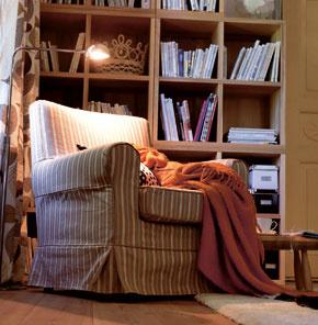 Kreslo Ektorp Jennylund so svetlohnedým poťahom Linghem zo 100 % bavlny. IKEA