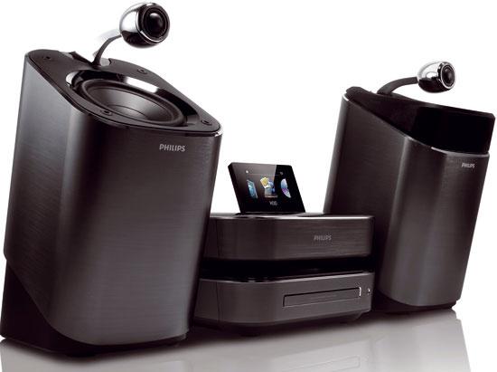 Philips HI-FI mikro systém sreproduktormi soundsphere mci900 má 160GB pevný disk (uloží 2 000 hudobných albumov), internetové rádio, farebný displej ajednoduchú navigáciu.