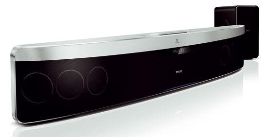 Domáce kino Philips HTS 9140 SoundBar sfunkciou Ambisound, technológiou, ktorá vytvára obklopujúci viackanálový priestorový zvuk zmenšieho počtu reproduktorov.