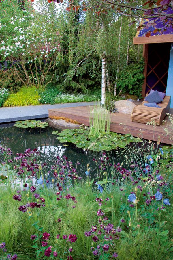 Brehy prírodne ladeného jazierka vnajnižšej časti záhrady pokrýva bujná vegetácia – nižšie okrasné trávy akvitnúce vlhkomilné trvalky (vpopredí kvitnúci orlíček, odkvitajúci modrokvetý pamak aporast jemného kavyľa) sú ideálnym prostredím nielen pre rôzne zaujímavé živočíchy, ale najmä na relaxovanie majiteľov