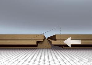 Ak máte kvalitný zámok, pri šikmej polohe (približne 15-stupňový uhol) stačí dosky otočiť smerom dole a zasunúť do seba. Horizontálne zasúvanie je vhodné najmä pod ťažko dostupné miesta, ako sú napríklad rámy dverí alebo radiátory. Quick step_instalacia_method2
