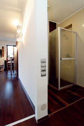 Popravde – názor, že ide o bezpriečkové bývanie treba poopraviť: WC, šatník a malé separé na sprchovací kút pred,návšteva v byte,bývanie ,kupelna,MD_112010_30,zariadenie bytu,moderny,hnedasa len potrebovali hmotnejšie zákulisie a viac súkromia.