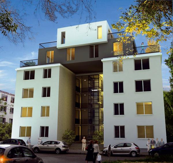 Vnadstavbe jedného zdomov vbratislavskej kolónii malých bytov (postavili ju začiatkom 30. rokov 20. storočia) by malo vzniknúť 6 nových bytových jednotiek srozľahlými terasami azasklenou prednou fasádou.