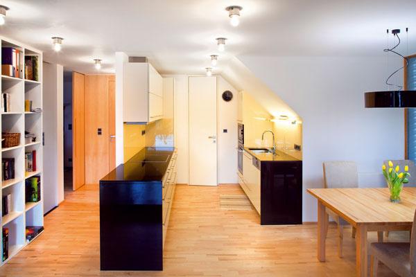 Líniové usporiadanie kuchyne rovnobežnej spolicou pri schodisku, ktorá elegantne nahrádza zábradlie nad halou.