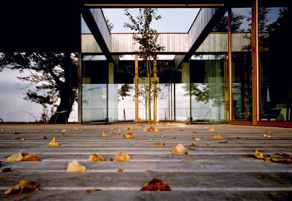 """Pohľad od terasy z amazonského jatobového dreva na """"srdce domu"""" v zovretí sklených stien"""