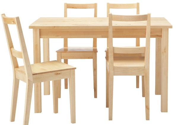 Jedálenský stôl Björkudden aštyri stoličky Bertil zmasívnej brezy