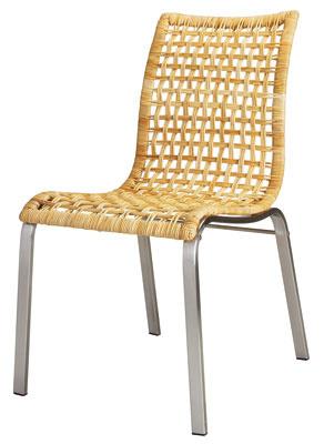 Stolička Nandor, dizajn Mikael Warnhammar. Sedadlo znebieleného farbeného papiera má pohodlné pruženie, rám anohy sú zponiklovanej ocele
