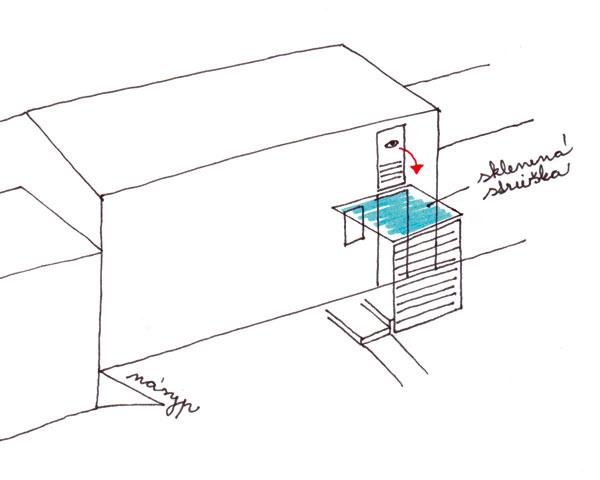 Schéma vizuálneho prepojenia medzi horným podlažím a vstupnými dverami (alternatíva A)