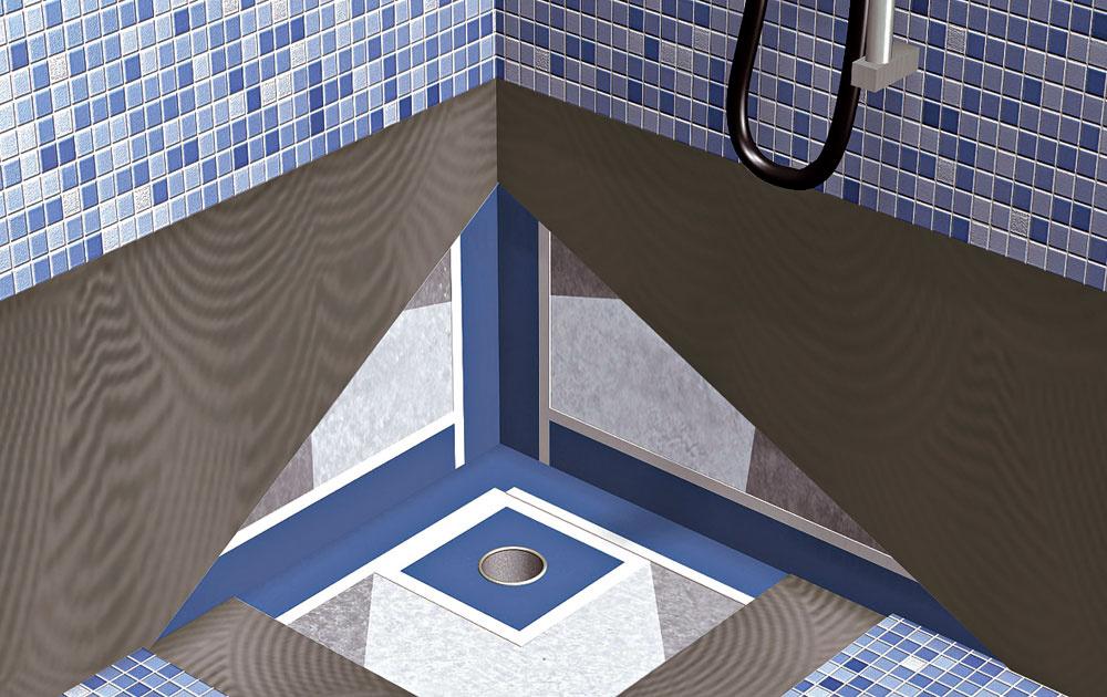 Ochranu pred vlhkosťou zabezpečí vodotesná hydroizolačná stierka, ktorá sa nanáša na penetrovaný podklad. Škáry medzi stenou apodlahou alebo pri podlahovom vpuste musia byť utesnené pomocou špeciálneho pogumovaného pásu, ktorý sa zapracuje do prvej vrstvy stierky. Po vytvrdnutí hydroizolačnej stierky by mala vzniknúť pružná membrána na celej ploche shrúbkou aspoň 1 mm.