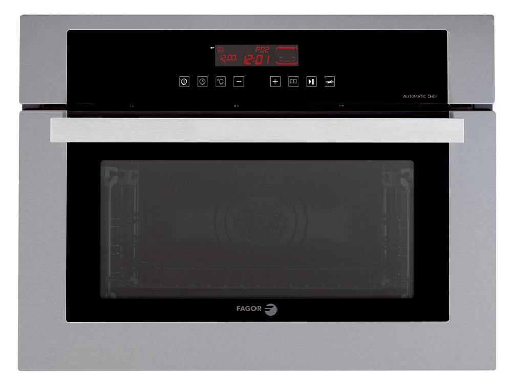 Multifunkčná elektrická rúra Fagor 6H-570A TC X vysoká len 45?cm, kombinovaná s mikrovlnkou. Šesť programov pečenia: tri teplotné, dva kombinované (teplo a mikrovlny) a jeden program mikrovlny. Intuitívne dotykové ovládanie a dobre čitateľný displej: hodiny, časy, teplota, funkcie, odporúčaná úroveň plechu. Automatic Chef – 12 automatických programov pečenia podľa druhu a hmotnosti potraviny. Chladné dvierka s troma sklami, integrovaný otočný tanier. Odporúčaná cena 749 €.