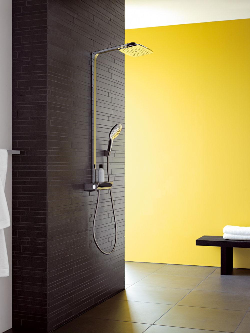 Spoločnosť Hangsrohe vyvinula aj novú koncepciu sprchovej batérie apolice vjednom. Skvelé riešenie do malých kúpeľní, kde sa bojuje okaždý centimeter apolica na stene sprchy by mohla prekážať.