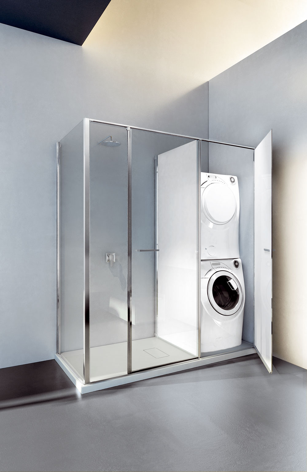Sprchovací kút sďalším priestorom, kde môže byť umiestnené WC či aj práčka, alebo tam môže byť len odkladací priestor.