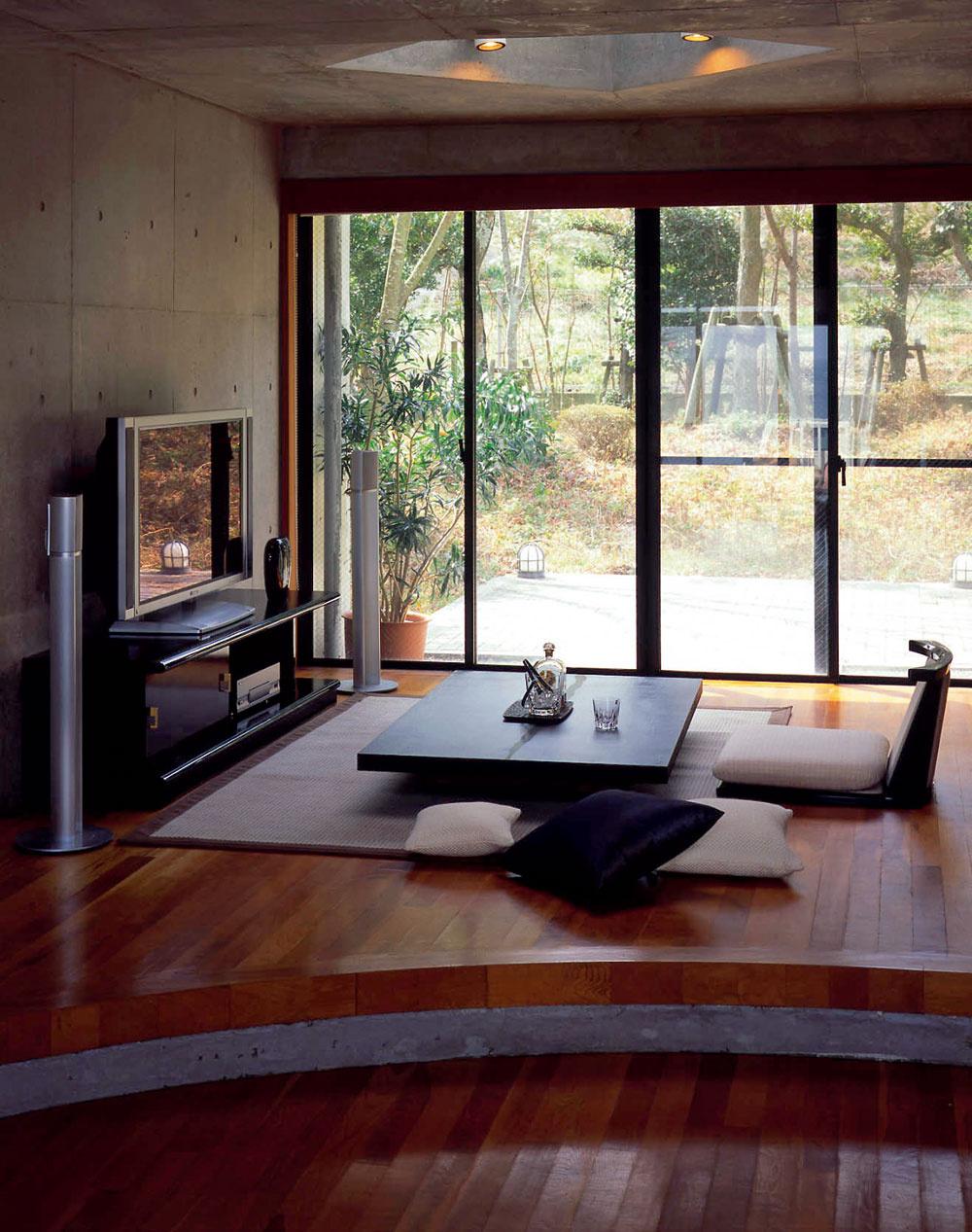 Ukážka delenia priestoru výškovým rozdielom podlahy