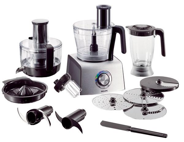 Kuchynský robot Philips HR7775 Aluminium Collection vie odšťavovať najrýchlejšie na svete (patentovaný mikrosieťkový filter). 10nástavcov, viac ako 30 činností (krájanie, strúhanie, drvenie, sekanie, lisovanie citrusov, miesenie amiešanie). Do XL podávacej trubice sa zmestí celé ovocie azelenina, vXL mise možno pripraviť 7 porcií, brožúra sreceptami, kompaktná zostava 3 v 1 šetrí miesto na kuchynskej linke. Odporúčaná cena 269,99 €.
