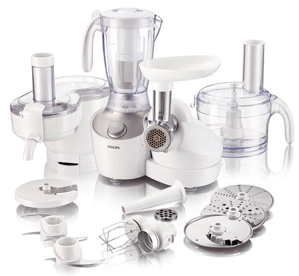 Kuchynský robot Philips HR7766 s38 funkciami vrátane profesionálneho odšťavovania. Kompaktná multifunkčná zostava (4 v1, odšťavovač, mixér, misa alebo mlynček na mäso), kapacita liateho cesta 700 g, obsah misky 2,5 l, inteligentné ovládanie, brúsené panely znehrdzavejúcej ocele soranžovými LED kontrolkami, príslušenstvo vhodné do umývačky, tlačidlo čistenia Easy Clean. Úložný stojan na príslušenstvo. Odporúčaná cena 289,99 €.