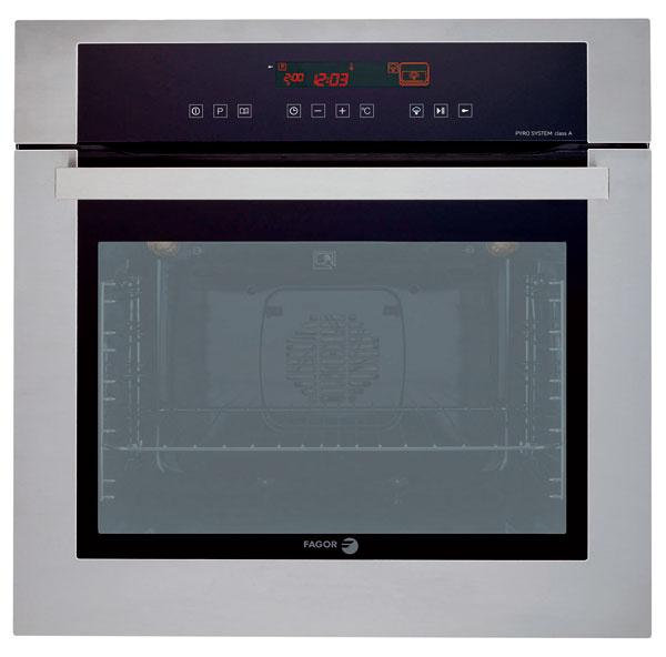 Multifunkčná elektrická rúra Fagor 6H-570A TC X vysoká 45 cm, kombinovaná smikrovlnkou. 6programov pečenia, intuitívne dotykové ovládanie, dobre čitateľný displej. Automatic Chef – 12 automatických programov pečenia podľa druhu ahmotnosti potraviny. Dvierka strojitým sklom, integrovaný otočný tanier. Odporúčaná cena 749 €.