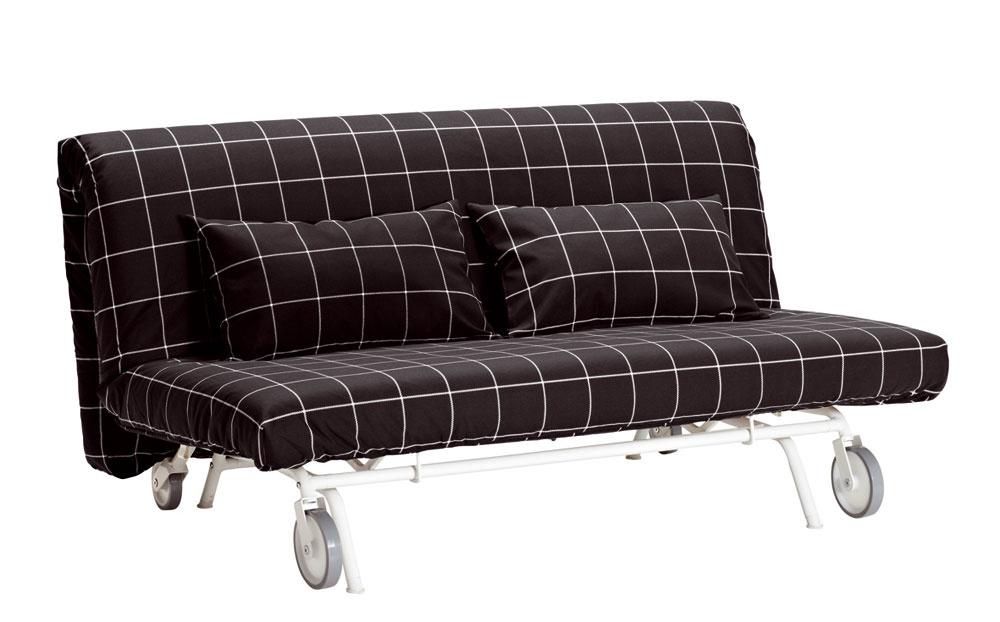 Rozkladacia dvojpohovka IKEA PS Löv°as, dizajn T Sandell/C Martin/IKEA of Sweden. Vďaka kolieskam sa pohovka jednoducho premiestňuje. Za okamih sa dá premeniť na veľkú posteľ pre dvoch. Vybrať si môžete spomedzi troch rôznych matracov amnožstva poťahov avytvoriť si tak kombináciu, aká sa vám najviac páči. Jednoduchý matrac zpevnej polyuretánovej peny zabezpečí potrebné pohodlie. Nenáročná údržba, poťahy matracov sú snímateľné adajú sa chemicky čistiť. Cena 299 €. Predáva IKEA.