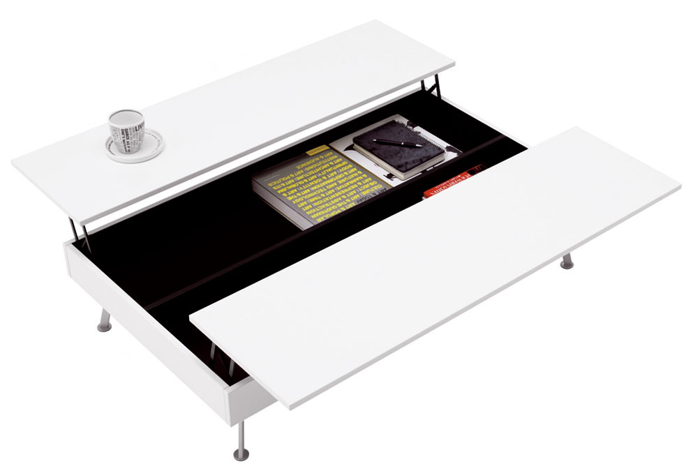 Otvárací konferenčný stolík /funkcia na možnosť jedenia alebo práce na notebooku. Rozmery: 32,5/45 × 102,5 × 70/109 cm. Cena od 499 €. Rôzne vyhotovenie. Predáva BoConcept, Atrium.