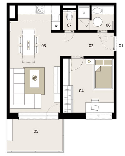 Pôdorys 01 vstup do bytu 02 chodba 03 kuchyňa, jedáleň, obývačka 04 spálňa a pracovňa 05 terasa 06 kúpelňa 07 WC