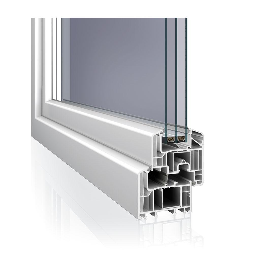 Šesťkomorový okenný profil Eforte od firmy Deceuninck je vybavený oceľovou výstuhou abez použitia špeciálnych prvkov dosahuje Uf = 0,95 W/m2 . K. Plastový rám je vponuke aj so špeciálnou tepelnoizolačnou výstuhou, vďaka ktorej môže dosahovať ešte lepšie hodnoty súčiniteľa prechodu tepla. Pri kombinácii okenného profilu Eforte sizolačným trojsklom sUg = 0,5 W/m2 . Kje možné dosiahnuť Uw = 0,7 W/m2 . K, čo hravo spĺňa požiadavky normy na výplne otvorov pre nízkoenergetické apasívne domy (okná INCON Exklusive).