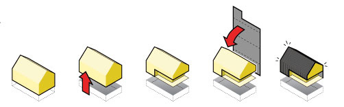 Schematické znázornenie konceptu opláštenia domu trochu pripomína návod na zlepenie papierového modelu. Jednoliaty plášť zvlnitých, antracitovo sfarbených platní, určuje celý objem budovy, jeho zdvihnutím aumiestnením na mierne zvýšené prízemie vzniká dojem ľahkosti anadnášania. Navyše vďaka tomu získali obyvatelia štvorcové metre navyše.