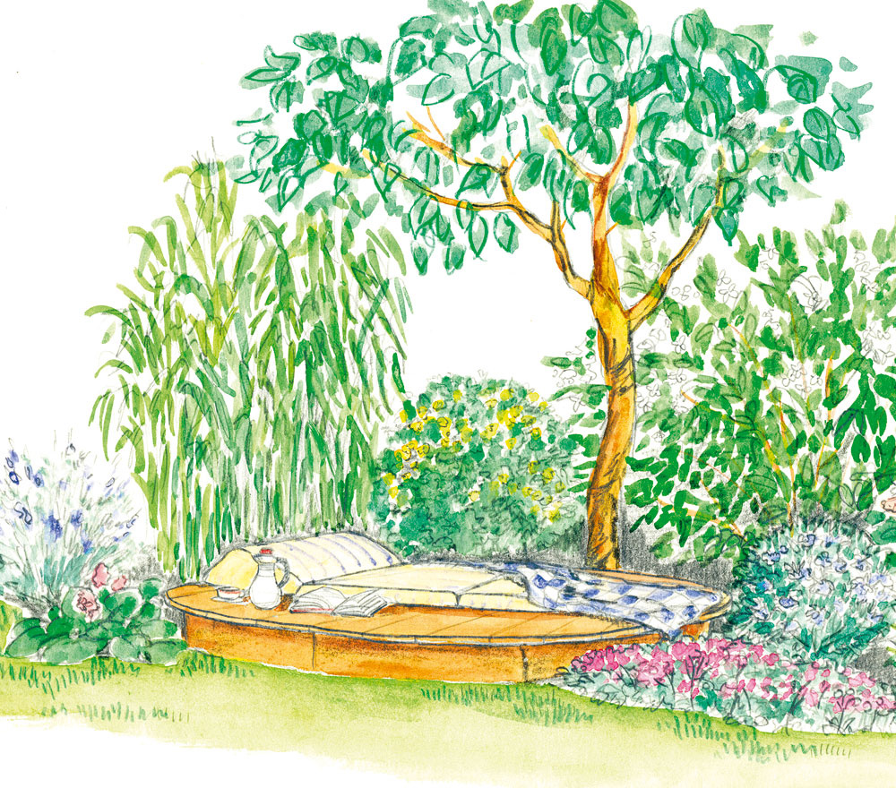 Na ležanie sú príjemné drevené plošiny, pretože nechladia. Ideálne je vysadiť okolo nich voňavé rastliny (kalina, pajazmín, levanduľa, kocúrnik...), ktoré pomáhajú relaxovať azároveň vytvoria intímnejšie prostredie.