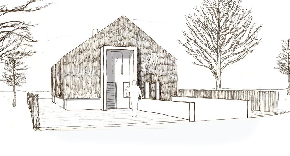"""Dom """"zabalený"""" do tŕstia postavili podľa návrhu mladého holandského architekta Arjena Reasa. Sú preň charakteristické jednoduché tvary aveľké súvislé plochy, ktoré dávajú vyniknúť zaujímavej štruktúre, vytvorenej prírodným materiálom aprastarou technológiou. Zapôsobí tiež redukovanou farebnou škálou, ktorú podčiarkuje okolie vysypané drveným kameňom – praktické, keďže táto verzia strechy nemá odkvapy."""