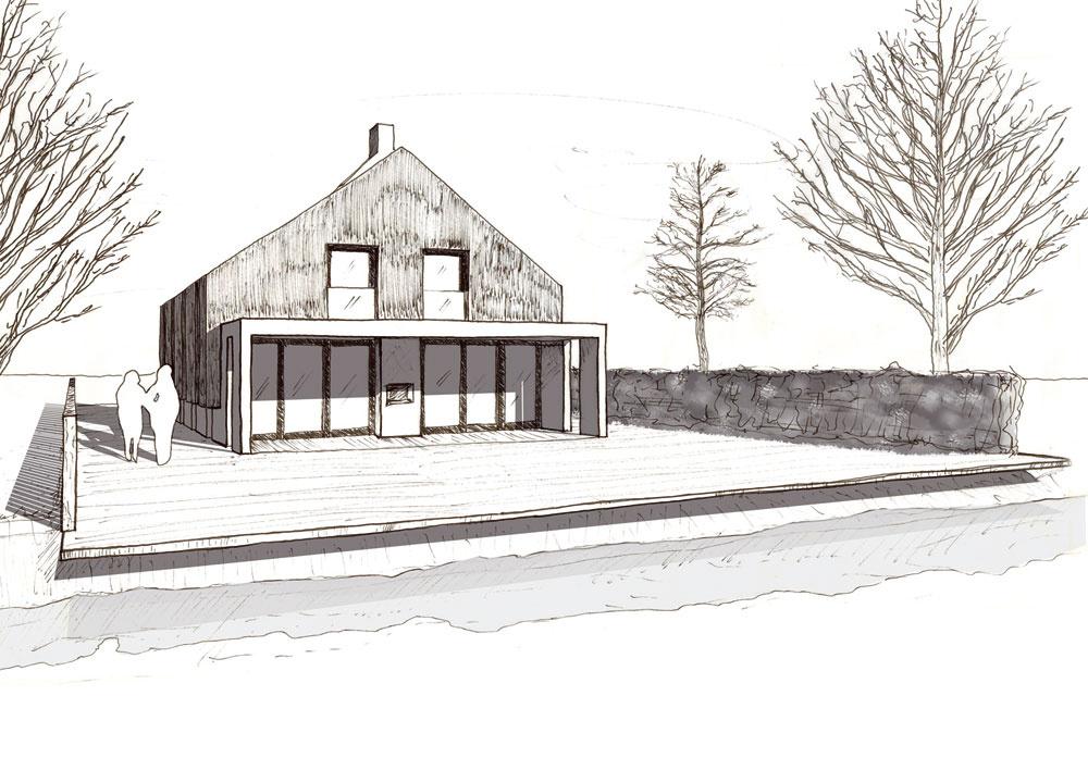 Parcelu predlžuje až do prostriedku úzkeho kanála drevená plošina. Podľa pôvodného návrhu mala byť vzadnej časti parcely na osi domu dlhá úzka nádrž.