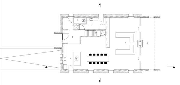 Pôdorys prízemia 1 vstup 2 WC 3 prípravňa jedál 4 kuchyňa sjedálňou 5 obývacia izba 6 terasa