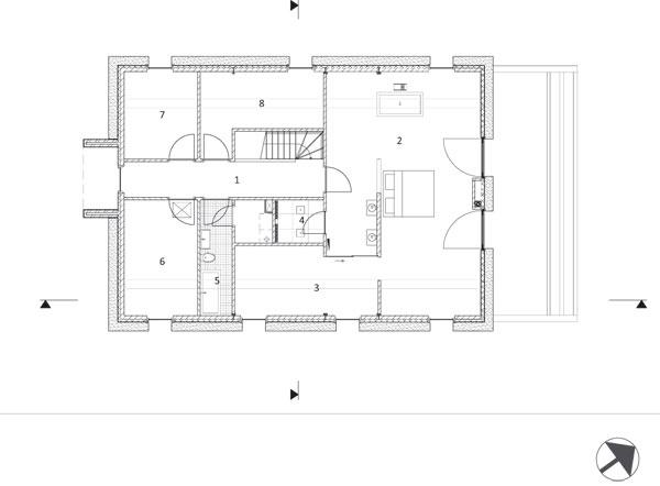 Pôdorys poschodia 1 chodba 2 spálňa rodičov 3 šatník 4 sprchovací kút 5 kúpeľňa 6, 7, 8 spálne
