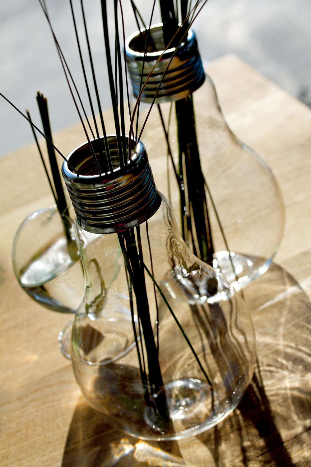 Keď už žiarovky nebudeme môcť používať na svietenie, ich zaujímavý tvar môžeme využiť ako nápaditú vázu. Sklenené vázy Solifleur vtvare žiaroviek od firmy Serax. Dizajn Catherine Grandidier. Výška 24cm. Cena 26,60 €/ks. Predáva Bird & Tree.