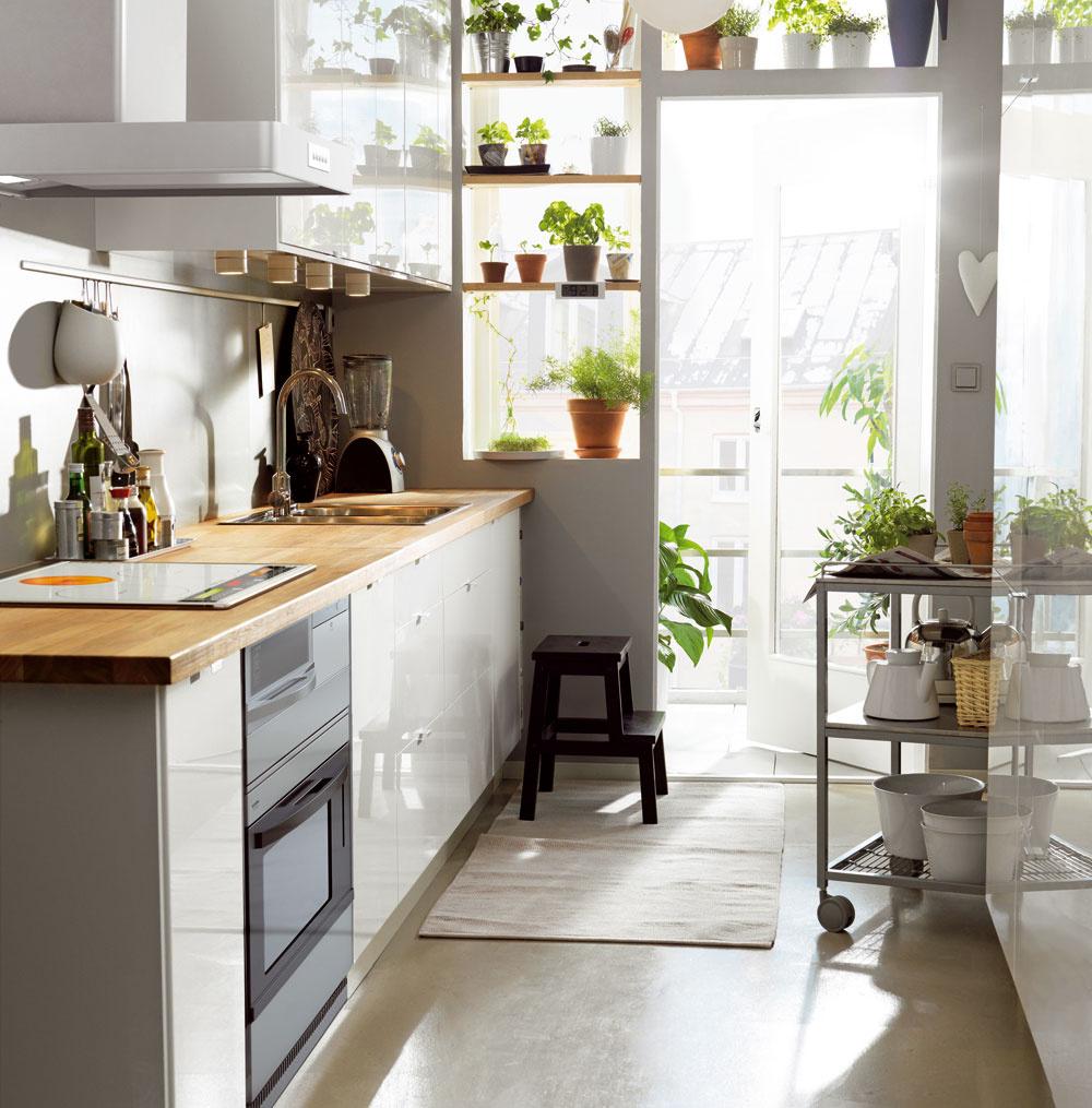 Ak sa zkuchyne vychádza na balkón, je fajn, keď sa dá stena medzi kuchynskou linkou advermi čo najviac otvoriť. Kuchyňa sa presvetlí avzniknutý priestor sa môže využiť na police, na ktorých sa bude výborne dariť kvetom abylinkám. Kuchyňa Faktum/Abstrakt, lesklé biele dvierka scenou od 30 € (60 × 70 cm). Predáva IKEA.