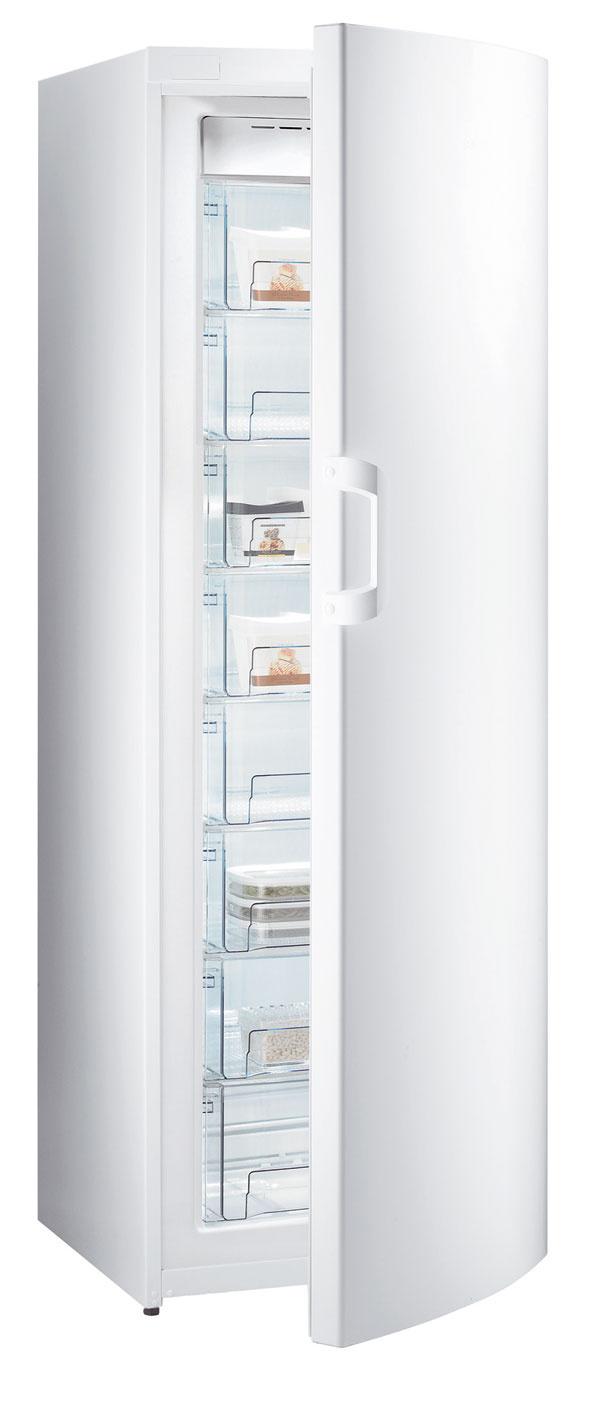 Skriňová mraznička Gorenje FN 6181 CW sobjemom 217 litrov, No Frost automatické odmrazovanie, úsporný režim ECO, funkcia rýchle mrazenie, energetická trieda A+. Cena 699 €.