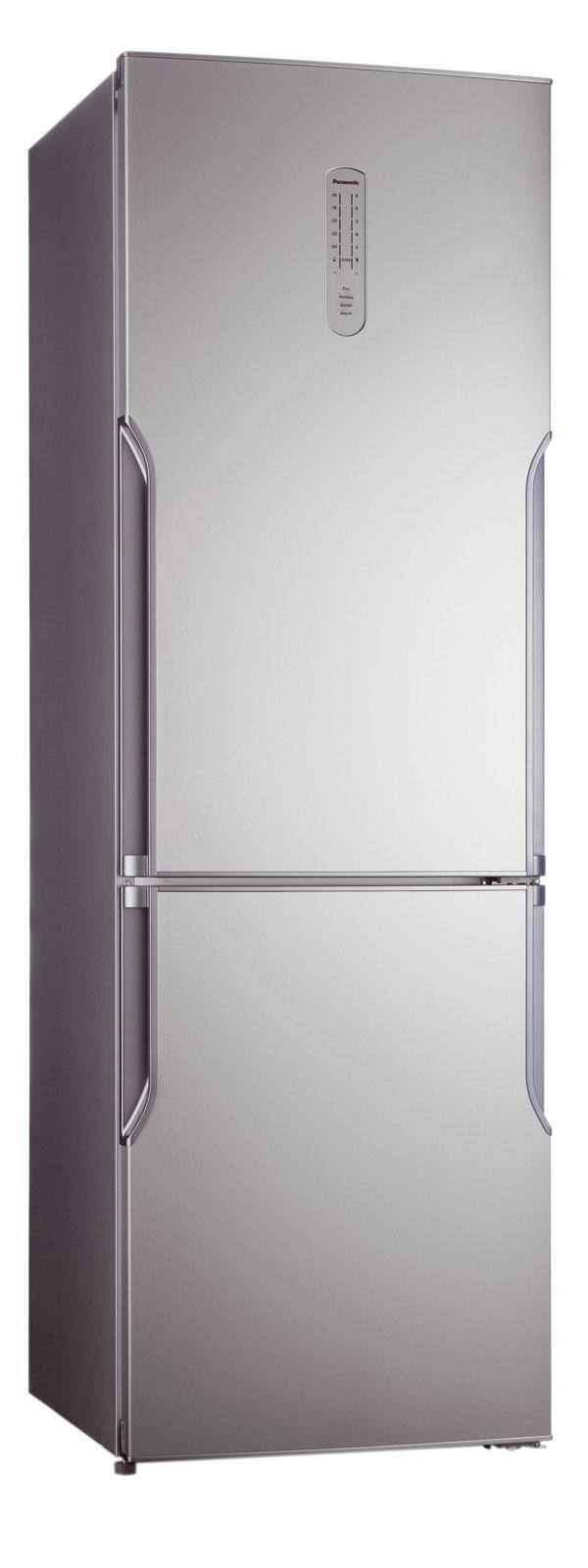 Kombinovaná chladnička Panasonic NR-B32SGI A+, objem 321 litrov, spotreba 249 kWh/rok (0,68kWh/deň), úsporný režim ECO, Fresh zóna, VitaminSafe, Hygiene Active, LED diódy. Cena699 €.
