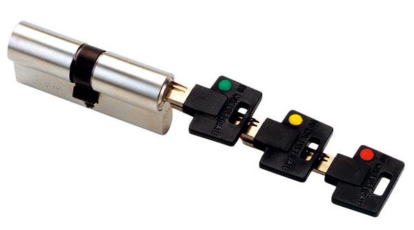 3 v1 – vložku zámku značky Mul-T-Lock smožnosťou mechanického prekódovania ocenia napríklad vrodinách sdeťmi, ktorých kľúče zvyknú mať nohy. Pri strate prvého kľúča (zeleného) sa použitím žltého kľúča zámok prekóduje avšetci vdomácnosti začnú používať žlté kľúče (zelené už nebudú fungovať). To isté sa dá spraviť ešte raz – použije sa červený kľúč (žltý zelený nefungujú). Výhodou je rýchla reakcia aminimálny čas potrebný nazabezpečenie domácnosti. Netreba pritom vymeniť vložku zámku. Funkciu 3 v1 môže mať aj visiaci zámok.