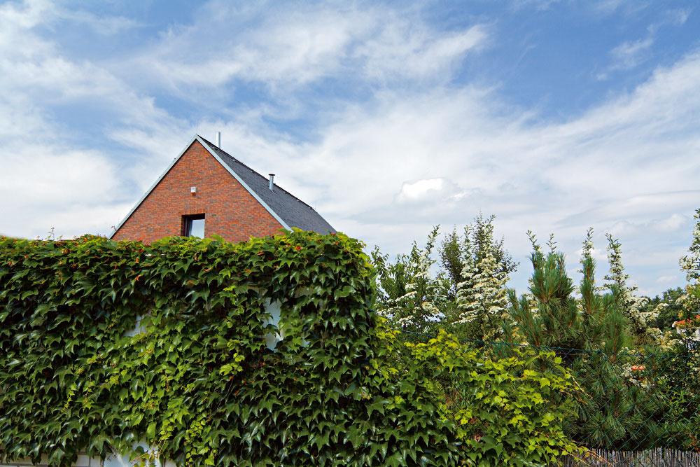Ulica sa pred domom dvíha do mierneho svahu. Zjej spodnej časti dovidieť len na špicatú čapicu strechy.