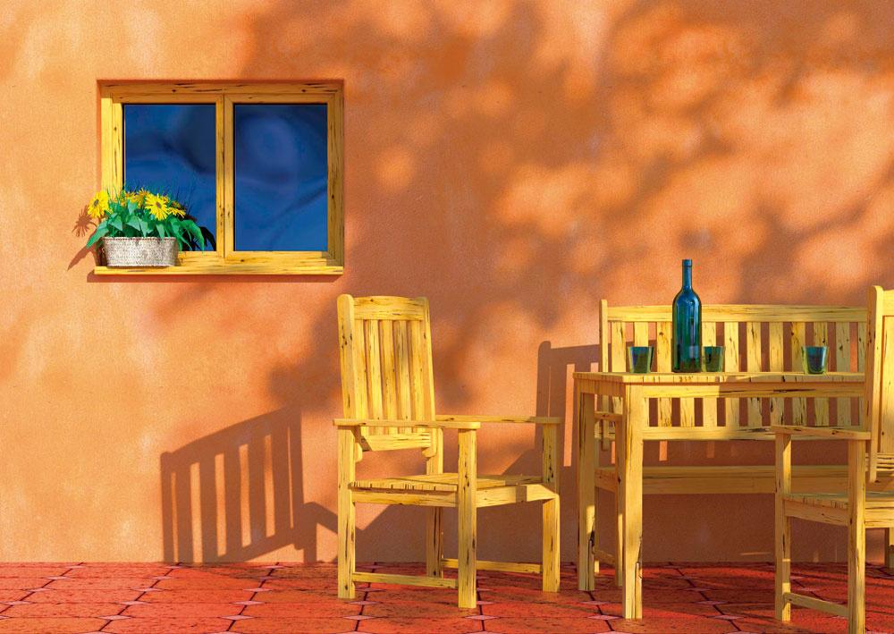 Príjemné miesto na posedenie aoddych by sa malo nájsť aj vo vidieckej záhrade zameranej viac na úžitkovosť. Slacnými plastovými stoličkami atmosféru nevytvoríte, radšej využite drevený interiérový nábytok po prarodičoch adodajte mu kreatívnu dušu.