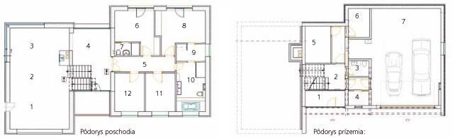 Pôdorys prízemia: 1 zádverie 2 vstupná hala 3 WC 4 šatník 5 technická miestnosť 6 práčovňa 7 dvojgaráž adielňa  Pôdorys poschodia: 1 kuchyňa 2 jedáleň 3 obývačka 4 pracovňa sknižnicou 5 chodba 6 hosťovská izba 7 hosťovská kúpeľňa sWC 8 spálňa domácich 9 šatník 10 kúpeľňa 11 detská izba 12 pracovňa