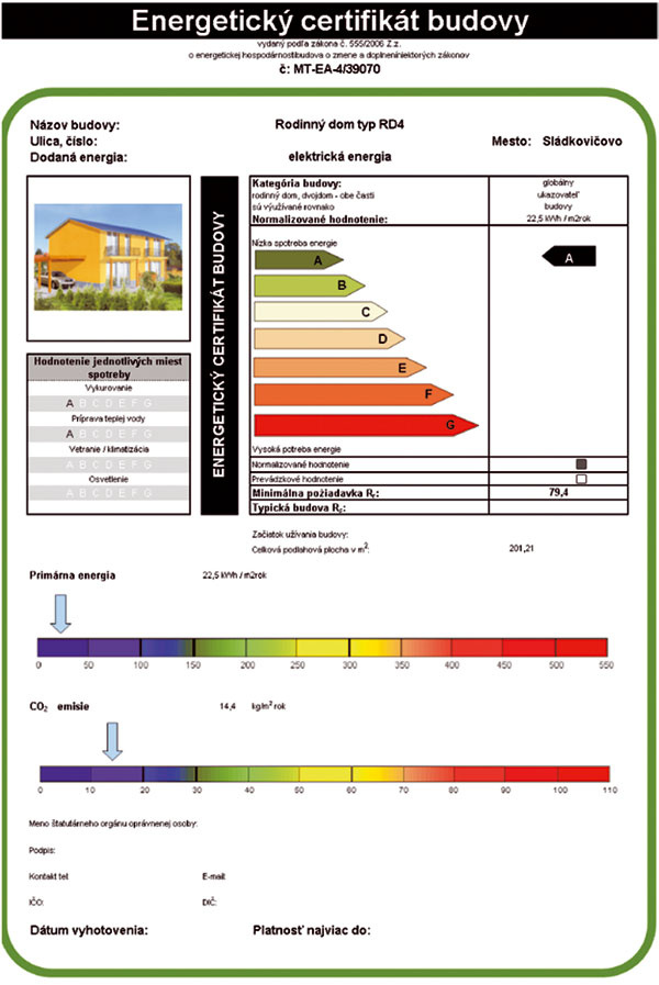 Energetický certifikát. Ním sa hodnotí objekt z hľadiska spotreby všetkých druhov energie. Sedem energetických tried, od A(veľmi úsporný) po G (mimoriadne nehospodárny) ako sme zvyknutí aj pri domácich spotrebičoch, znázorňuje jednoduchou formou energetickú náročnosť domu. Klasifikačná trieda A zodpovedá pasívnym domom a trieda B nízkoenergetickým.