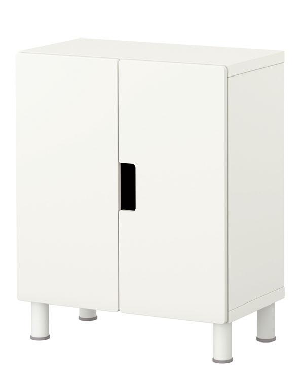 Biela skrinka Stuva zdrevovláknitej dosky, nohy zhliníka. Rozmery: š 60 × h30 × v75 cm. Cena 54,90 €. Predáva IKEA.