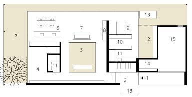 Pôdorys prízemia  Legenda: 1 – vstup do domu 2 – chodba 3 – átrium 4 – hosťovská izba 5 – kryté miesto na sedenie (Dvor pod stromom) 6 – kuchyňa ajedáleň 7 – obývačka 8 – kozub 9 – spálňa 10 – šatník – obliekareň 11 – kúpeľňa 12 – kúpací dvor 13 – nádrž svodou 14 – odkladací priestor 15 – garáž