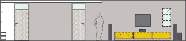 Pohľad na stenu obývačky achodby