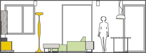 Pohľad na obývačkovú stenu svýhľadmi do exteriéru