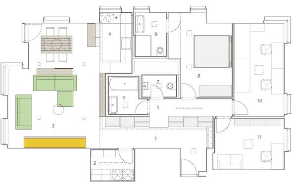 Pôdorys 1 – vstupná chodba – šatník 2 – práčovňa 3 – obytný priestor 4 – kuchyňa 5 – chodba do súkromnej časti – šatník 6 – kúpeľňa  7 – WC 8 – spálňa 9 – kúpeľňa rodičov 10 – detská izba 11 – pracovňa