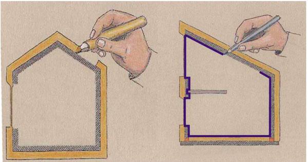 Tepelnoizolačný obal arovina neprievzdušnosti vľavo– neprerušovaná tepelná izolácia bez väčších oslabení, vpravo – súvislá rovina neprievzdušnosti (vzduchotesnosti) okolo celého interiéru okolo celého domu